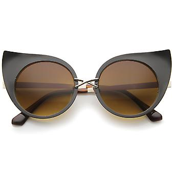 Women's Fashion Exaggerated Curved Round Cat Eye Sunglasses 47mm
