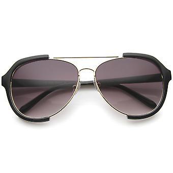 Moderne Oversize metalen dwarsbalk semi-montuurloze Aviator zonnebril 62 mm