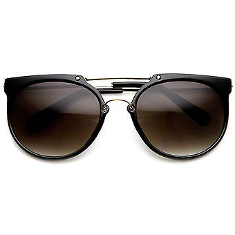 Retro Flat Top Crossbar Double Bridge Round Aviator Sunglasses