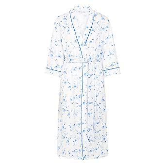 Slenderella HC7139 kobiet bawełniany kwiatowy niebieski szlafrok szaty Housecoat