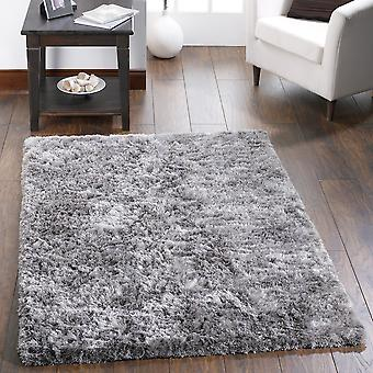 Shimmer Shaggy Rugs In Silver