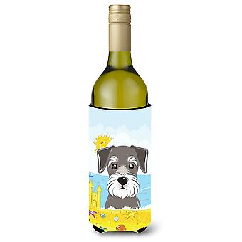 Schnauzer Summer Beach Wine Bottle beverage Insulator Hugger