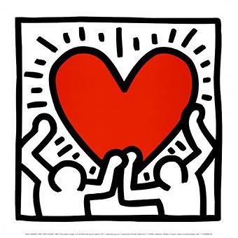 Untitled 1988 (tall med hjerte) Poster trykk av Keith Haring (12 x 12)