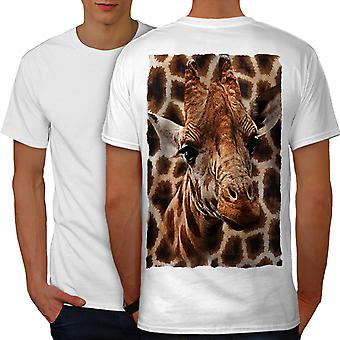 Giraffe head Cute Men WhiteT-shirt Back | Wellcoda