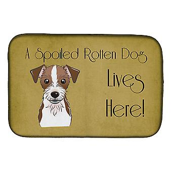 Jack Russell Terrier Spoiled Dog Lives Here Dish Drying Mat