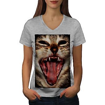 Cute Animal Funy Cat Women GreyV-Neck T-shirt | Wellcoda