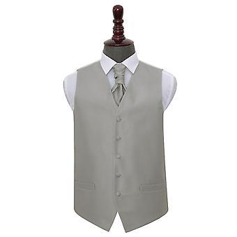 Silber solide Check Hochzeit Weste & Krawatte Set