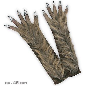 Werwolf-Handschuhe lang behaart Krallen Halloween Monster