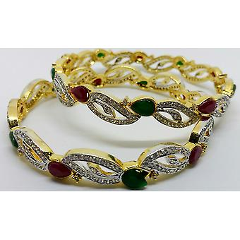 Gold Plated Semi Precious Red & Green Gemstones Bangles Set - 5cm
