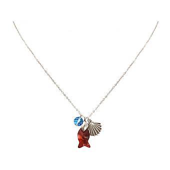 Senhoras - colar - encantos - 925 prata - concha - peixe - vermelho - azul - 45 cm