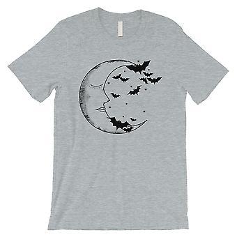 月とコウモリ メンズ グレー t シャツ