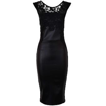 Senhoras Celeb Michelle Wetlook PU renda crochê guarnição Bodycon magro vestido das mulheres