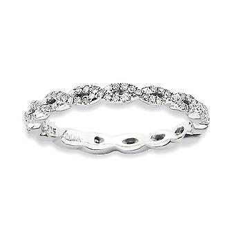 2,25 mm 925 Sterling Silber Prong Set Rhodium vergoldet stapelbare Ausdrücke poliert Diamant Ring Schmuck Geschenke für Frauen