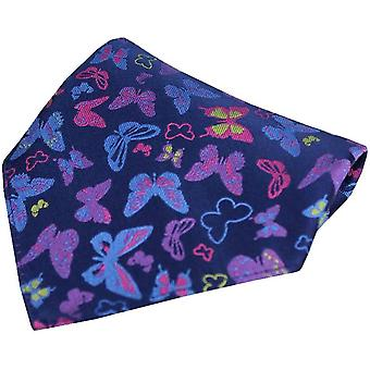 Posh and Dandy Butterflies Silk Pocket Square - Navy