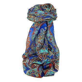 Klassisk Paisley lange skjerf Mulberry silke Dara fransk blå av Pashmina & Silk