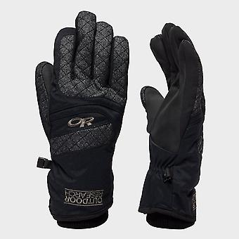 New Outdoor Research Women's Riot Winter Skiing Gloves Black