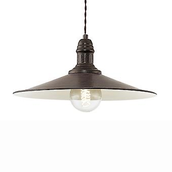 Eglo Stockbury Large Pendant Light In Antique Brown And Cream