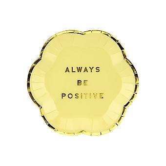 Yellow Paper Plates 'Always Be Positive' x 6