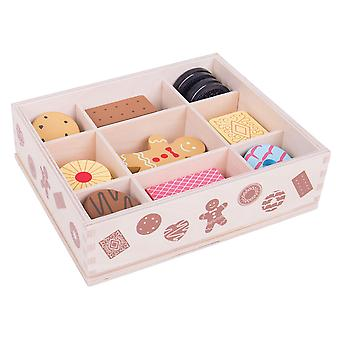 Bigjigs speelgoed Biscuit sierkist Pretend Play Food Roleplay keuken Shop picknick
