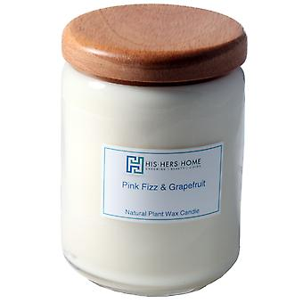 HisHersHome Natural Plant Wax  Large Candle - Pink Fizz & Grapefruit
