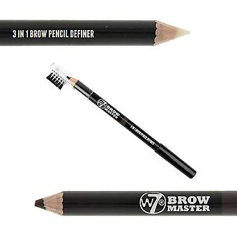 W7 Brow Master 3 i 1 Brow blyant Definer mørk brun