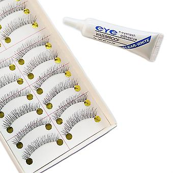 10 pairs of thin lashes + Adhesive transparent