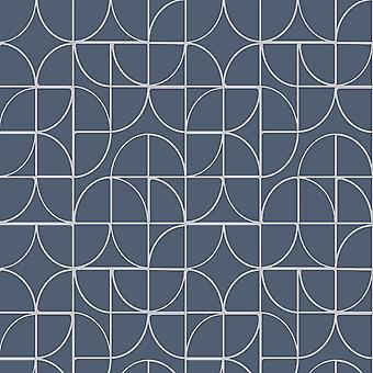 Rasch courbes géométriques bleu Silver Glitter métallique texture papier peint en vinyle
