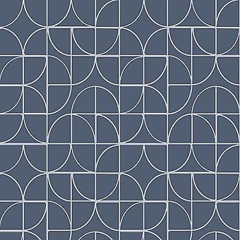 Curvas geométricas Rasch azul plata metálico brillo textura papel pintado de vinilo