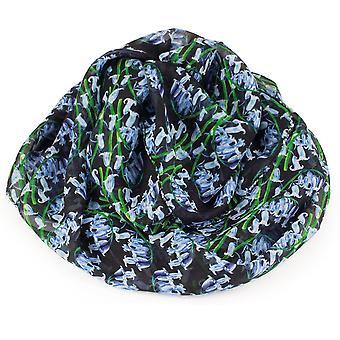 Wieczne kolekcji Bonnie Bluebell niebieski i czarny Multi kolorowe Pure jedwabny szal