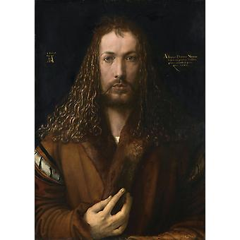 Self-protrait in a Fur-Collared Robe,Albrecht Durer,50x36cm