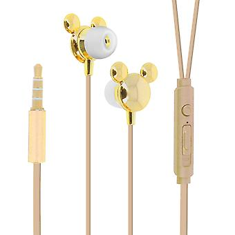 Disney Mickey Maus Earphones In-Ear-Handsfree Silikon Gold