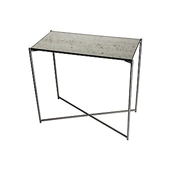 Gillmore Antiqued Glass Small Console Table With Gun Metal Cross Base