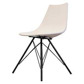 Fusion Living Iconic White Plastic Dining Chair With Black Metal Legs