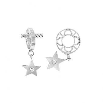 Storywheels Plain Silver & Diamond Star Dangle Charm S008SAND