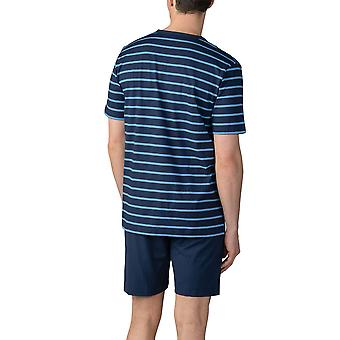 Mey Men 11271-668 Men's Yacht Blue Striped Cotton Pajama Short Pyjama Set