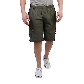 KRISP menns sjekk Knee lang sommer shorts elastisk Bermuda Beach beskjæres Cargo bukser