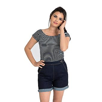 Hell Bunny Navy - White Verity Top XS