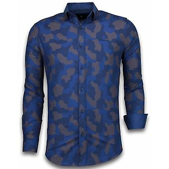 E Shirts - Slim Fit - Dotted Camouflage Pattern - Blue