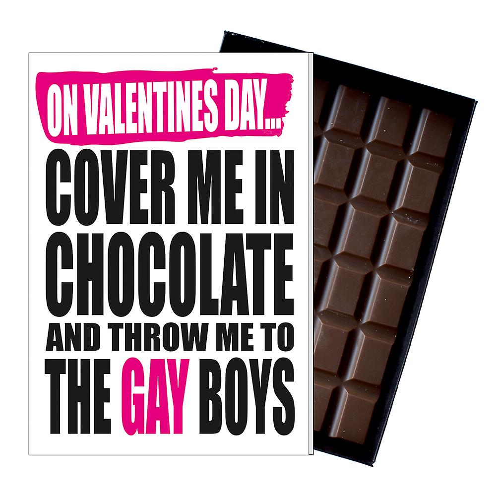 Funny Valentine's Day Gift A Rude LGBT Present for Gay Men 85g Chocolate Card IYF129