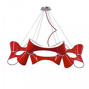 Mantra Ora hänge 12 vriden rund ljus E27, glans röd/vit akryl/polerad krom