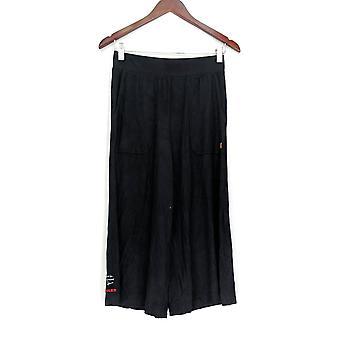 Peace Love World Comfy Knit Gaucho Pants Black A301565