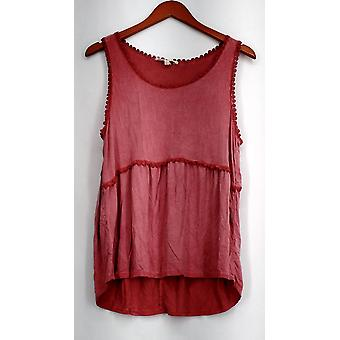 Indigo Filo Co. Top Pigmento Dyed High-Low Tiered Serbatoio Rosso Donne A432445