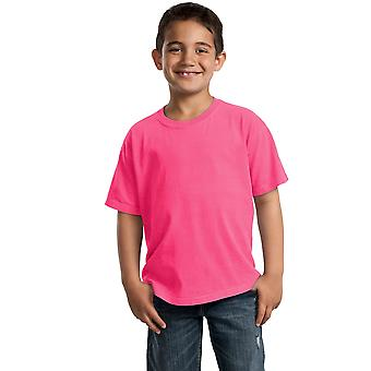 Port & Company Youth Tops Pigment-Dyed Short Sleeve Tee PC099Y Neon Pink