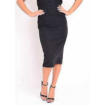 Belted Fitted Pencil Midi Skirt Black