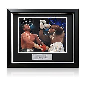 Anthony Joshua Firmato Boxe Foto: Klitschko Uppercut (Paesaggio) Telaio Deluxe