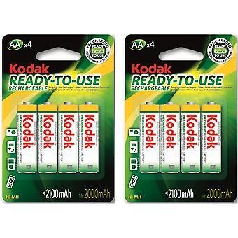 8x Kodak bateria recarregável AA NiMH 2100 mAh baterias