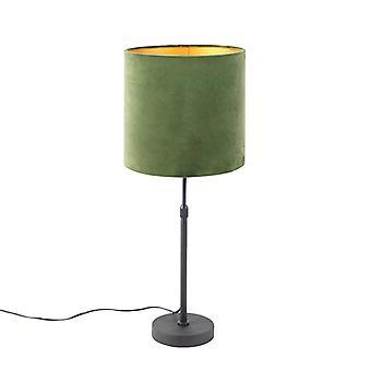 QAZQA Lampe de table noire avec vert d'ombre velor avec or 25 cm - Parte