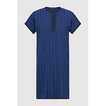Gandoura haroun boy's short sleeve collarless long robe thobe in marine (2-12yrs)