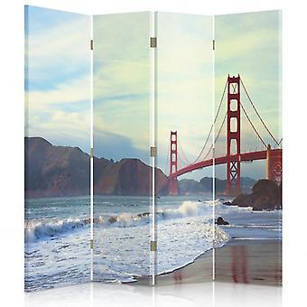 Raumteiler, 4 Paneele, Doppelseitig, 360 ° Drehbar, Leinwand, Golden Gate Bridge