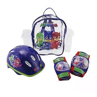 PJ マスクこども子供ヘルメット/膝/肘パッド保護パック ディープ ブルー S